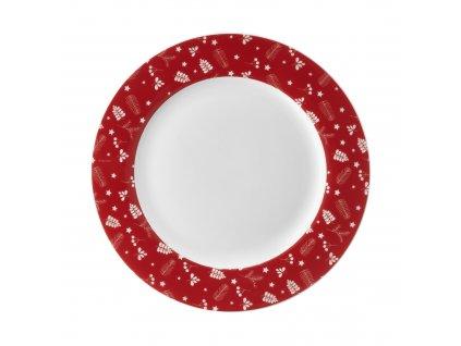 Porcelánový dezertní talíř Pine Full Red 19 cm AMBITION