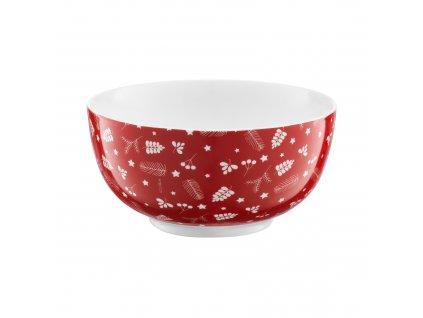 Porcelánová salátová mísa Pine Full Red 13 cm AMBITION