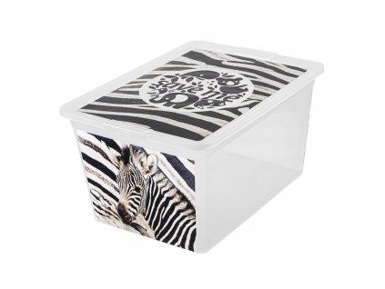 Box s víkem X Box Deco Zebra 30 l BRANQ