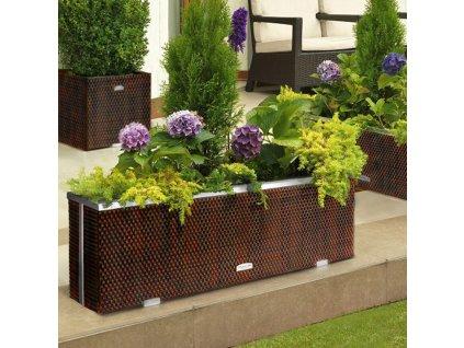 Zahradní kvetináč z technorattanu Tress Brown 150 x 39 x 50 cm PATIO