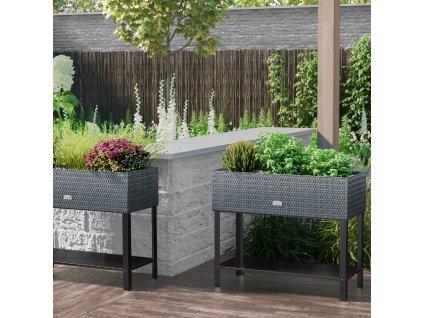 Zahradní kvetináč se zavlažovacím systémem Tress Gray 95 x 40 x 30 cm PATIO