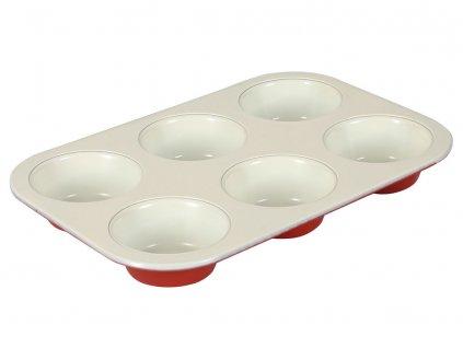 Forma na 6 muffinů Fusion Fresh Red s keramickým povlakem AMBITION