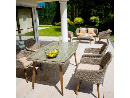 Zahradní stůl z technorattanu Marlene Ash 150 x 90 x 75 cm PATIO