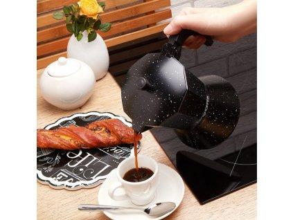 KonigHOFFER Moka konvice na espresso BLACK 450ml - 9 šálků