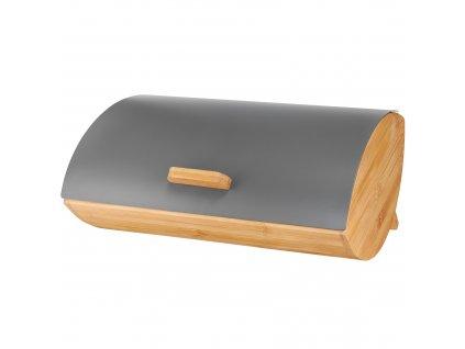 Bambusový chlebník s kovovým víkem Scandi Gray 36,5 x 24 cm AMBITION