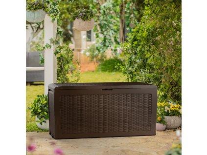 Plastový zahradní úložný box Samoa Brown 117 x 45 x 57 cm KETER
