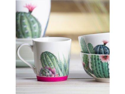 Porcelánový hrnek Cactus Dark Pink Silicon 320 ml AMBITION