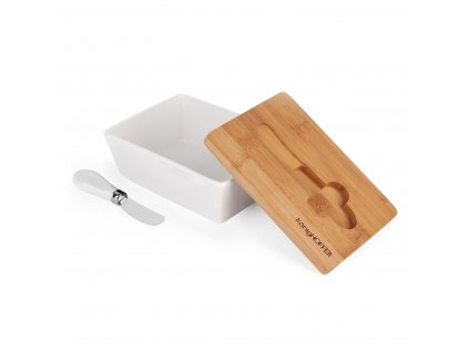 KonigHOFFER Máslenka porcelánová s bambusovým víkem a nožem - Bílá