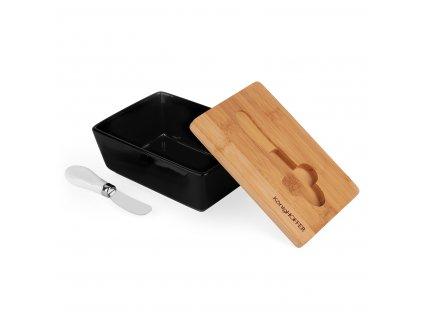KonigHOFFER Máslenka porcelánová s bambusovým víkem a nožem - Černá