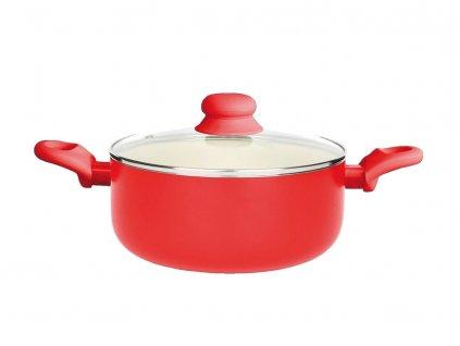 Hrnec s keramickým povlakem s poklicí Fusion Fresh Red 24 cm 4,25 l AMBITION