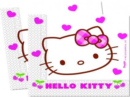 Sada 20 ubrousků Hello Kitty Hearts 33 x 33 cm DISNEY