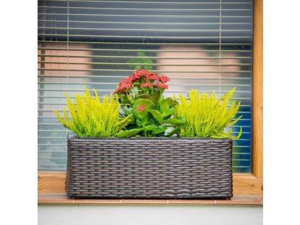Květináč na balkón s 3 vložkama 48 x 18 x 18 cm PATIO