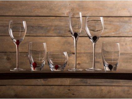 Sada 4 nízkých sklenic Drip Red 300 ml LUMINARC