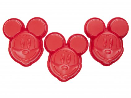 Set 3 silikonových forem Mickey Mouse Red DISNEY