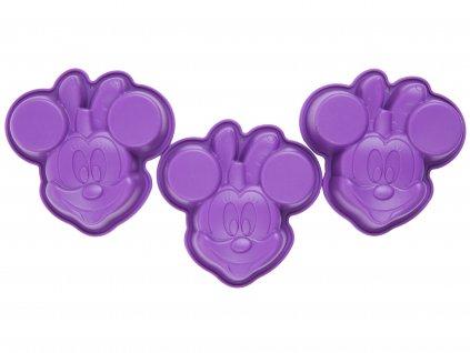 Sada 3 silikonových forem Minnie Mouse Violet DISNEY