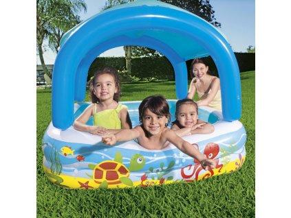 Dětský nafukovací bazén se stříškou 147 x 147 x 122 cm BESTWAY