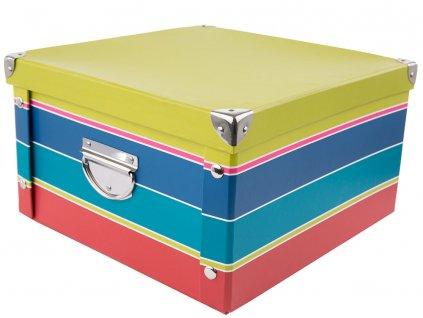 Lepenková krabice Green Strips 31,5 x 31,5 x 18 cm