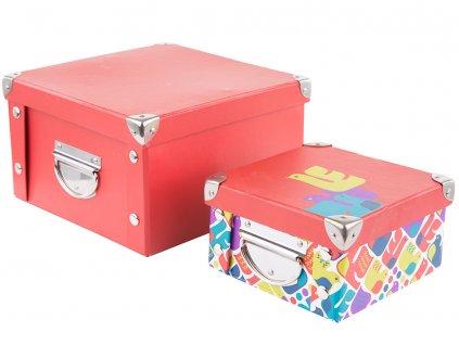 Sada 2 lepenkových krabiček Red