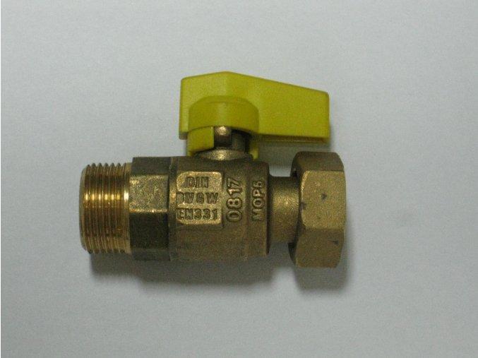 """Přímý kohout s převlečnou maticí 3/4""""- žlutý (plyn)"""