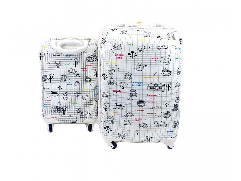 132632 cestovni skorepinovy kufr bily s obrazky sada 2ks