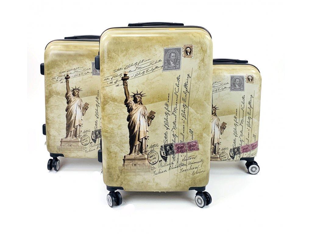132623 cestovni skorepinovy kufr socha svobody sada 3ks
