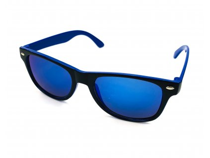 132293 detske slunecni bryle wayfarer dvoubarevne modre zrcadlove