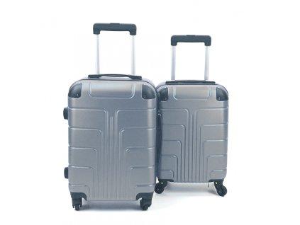 Cestovní Skořepinový Kufr - Stříbrný (velikost S a XS) (Opicka S)