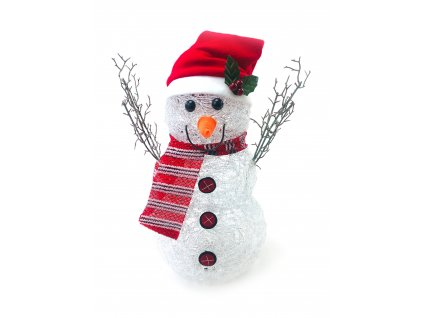 152195 svitici led snehulak v cepici s pruhovanou salou 40 cm