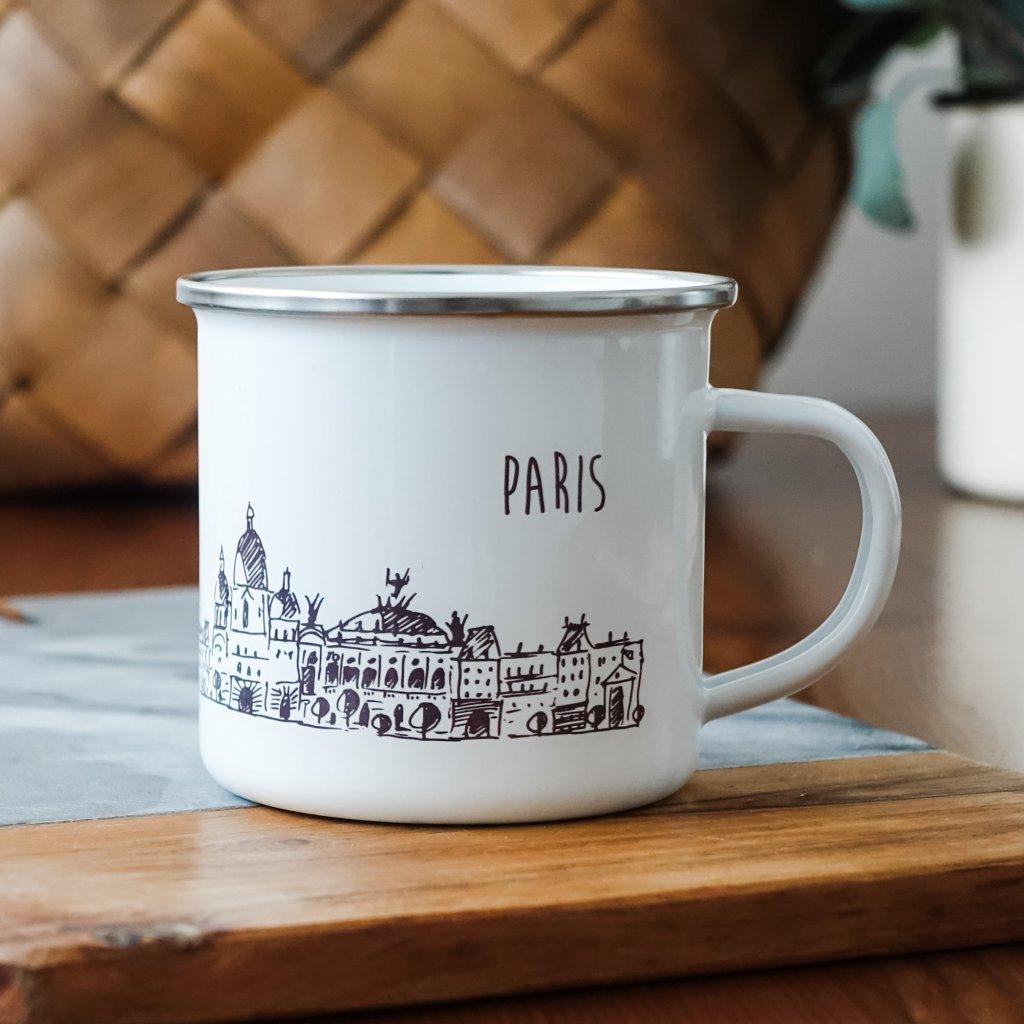 Bílý smaltovaný plecháček památkami Paříže a nápisem Paris 360ml