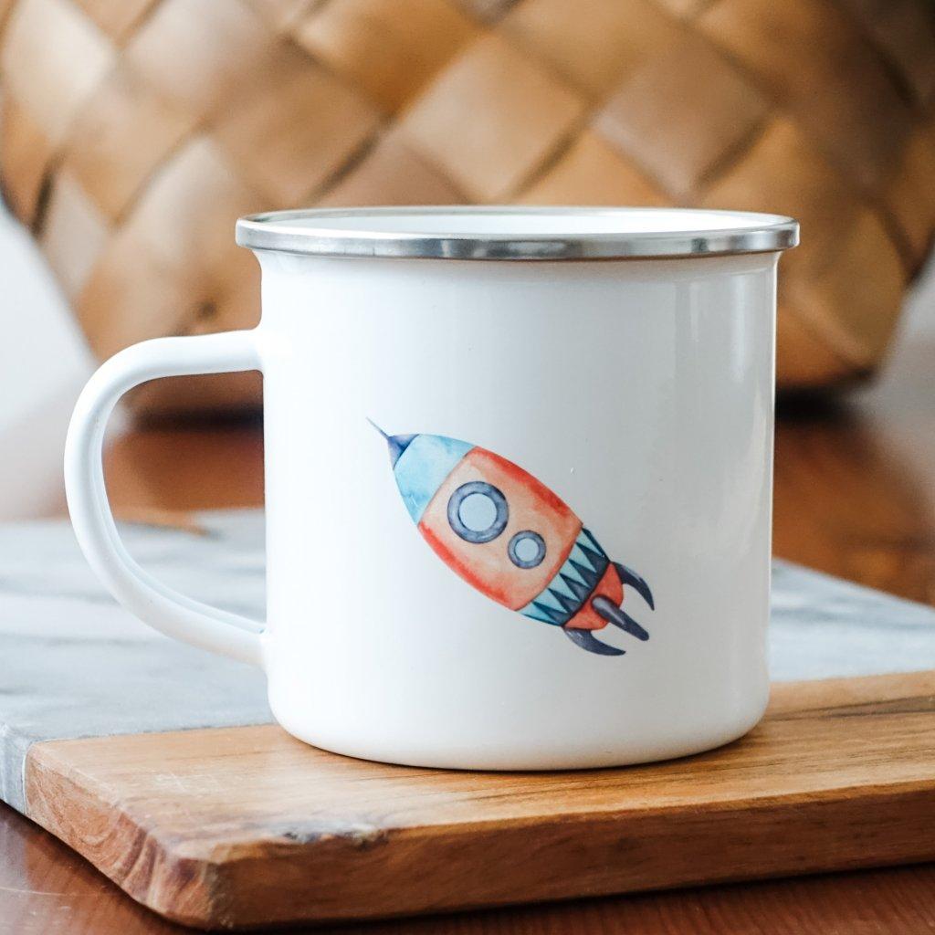 Bílý smaltovaný plecháček s raketou 360ml