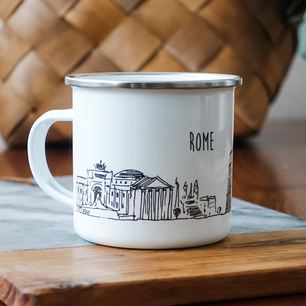 Bílý smaltovaný plecháček památkami Říma a nápisem Rome 360ml