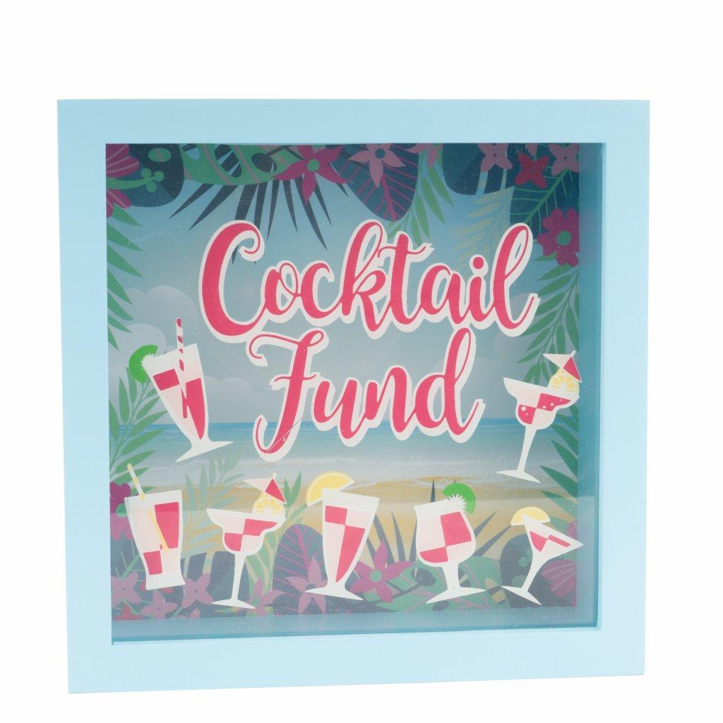 1557 modra pokladnicka s napisem cocktail fund