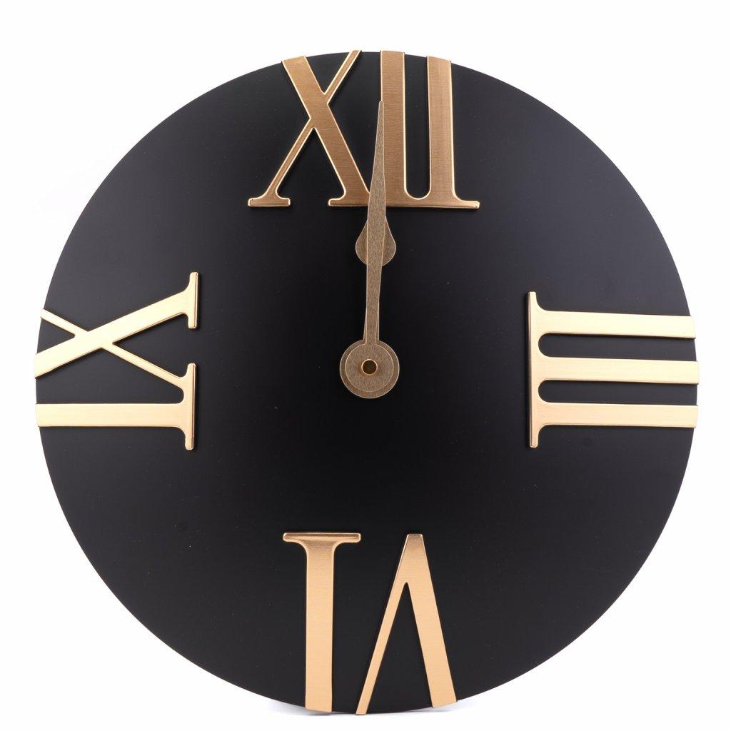 170 2 nastenne moderni hodiny cerne barvy s rimskymi cislicemi