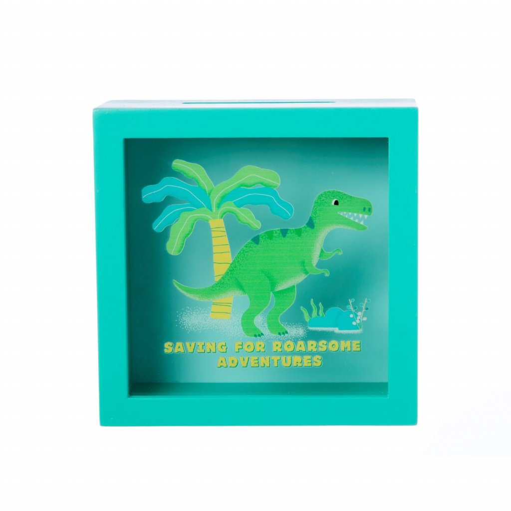 LDW188 A Dinosaurs MoneyBox SavingForRoarsomeAdventures Front