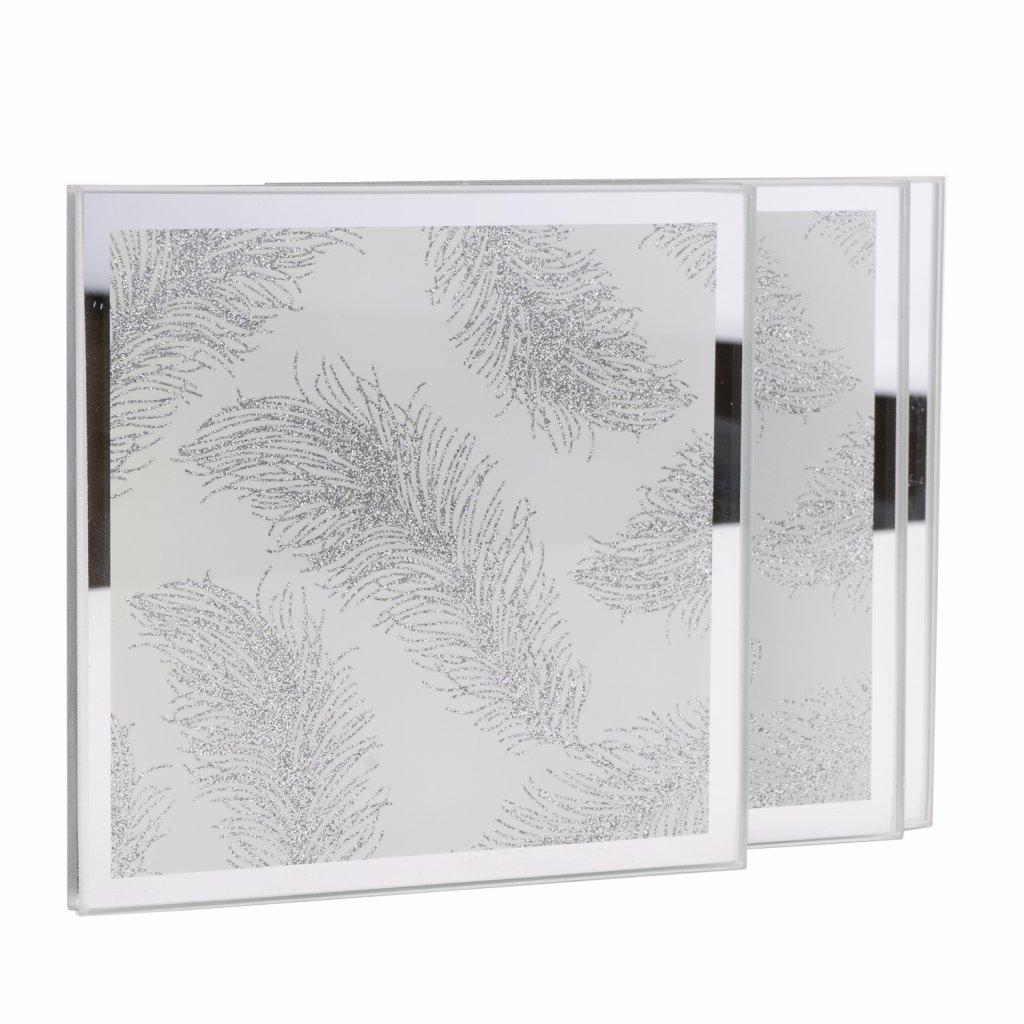 194 1 stribrne sklenene podtacky s motivem pirka 4ks