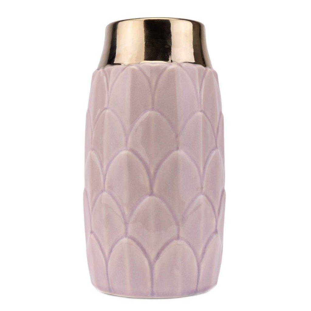 309 luxusni keramicka glazovana vaza staroruzove barvy