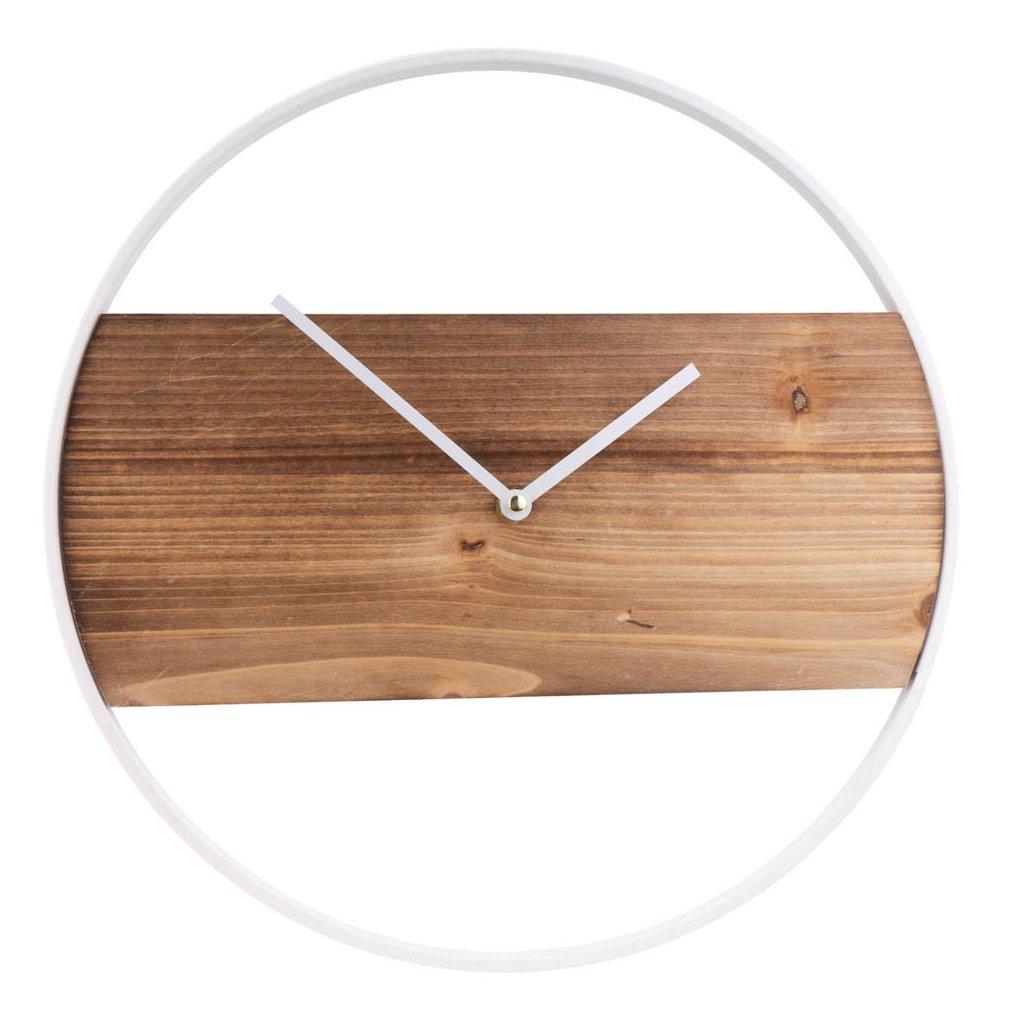 417 bile drevenne nastenne hodiny s kovovym okrajem