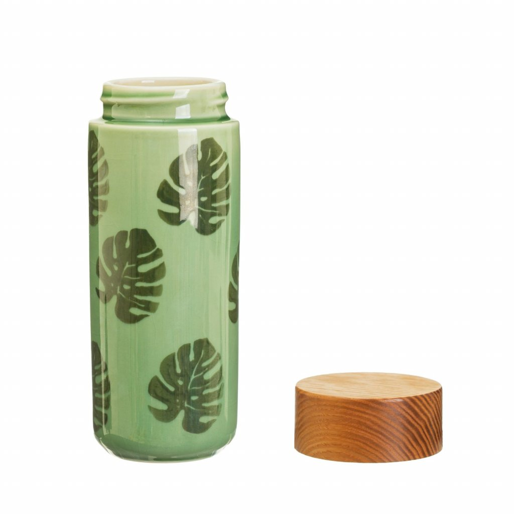 JUX001 A Cheese Plant Leaf Ceramic Bottle