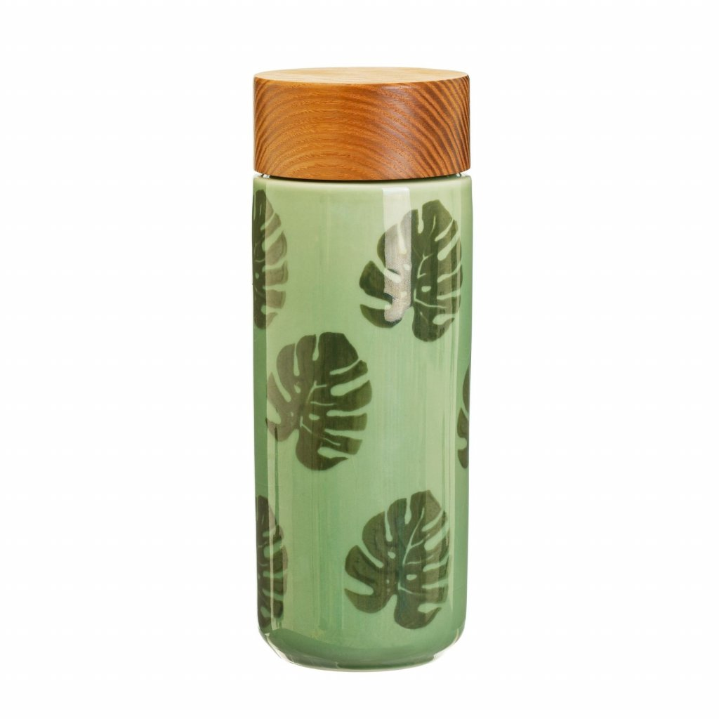 5027 2 jux001 a cheese plant leaf ceramic bottle