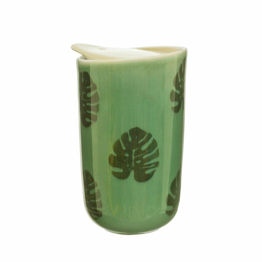 5048 2 jux004 a cheese plant leaf ceramic travel mug