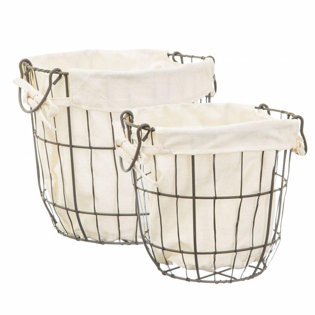 5177 5 zha002 a round wire storage baskets with lining set 2