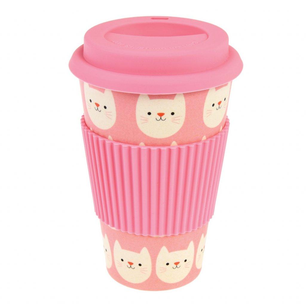 5204 2 5204 1 bambusovy znovu pouzitelny cestovni hrnek na kavu s kocickou cookie the cat 400ml