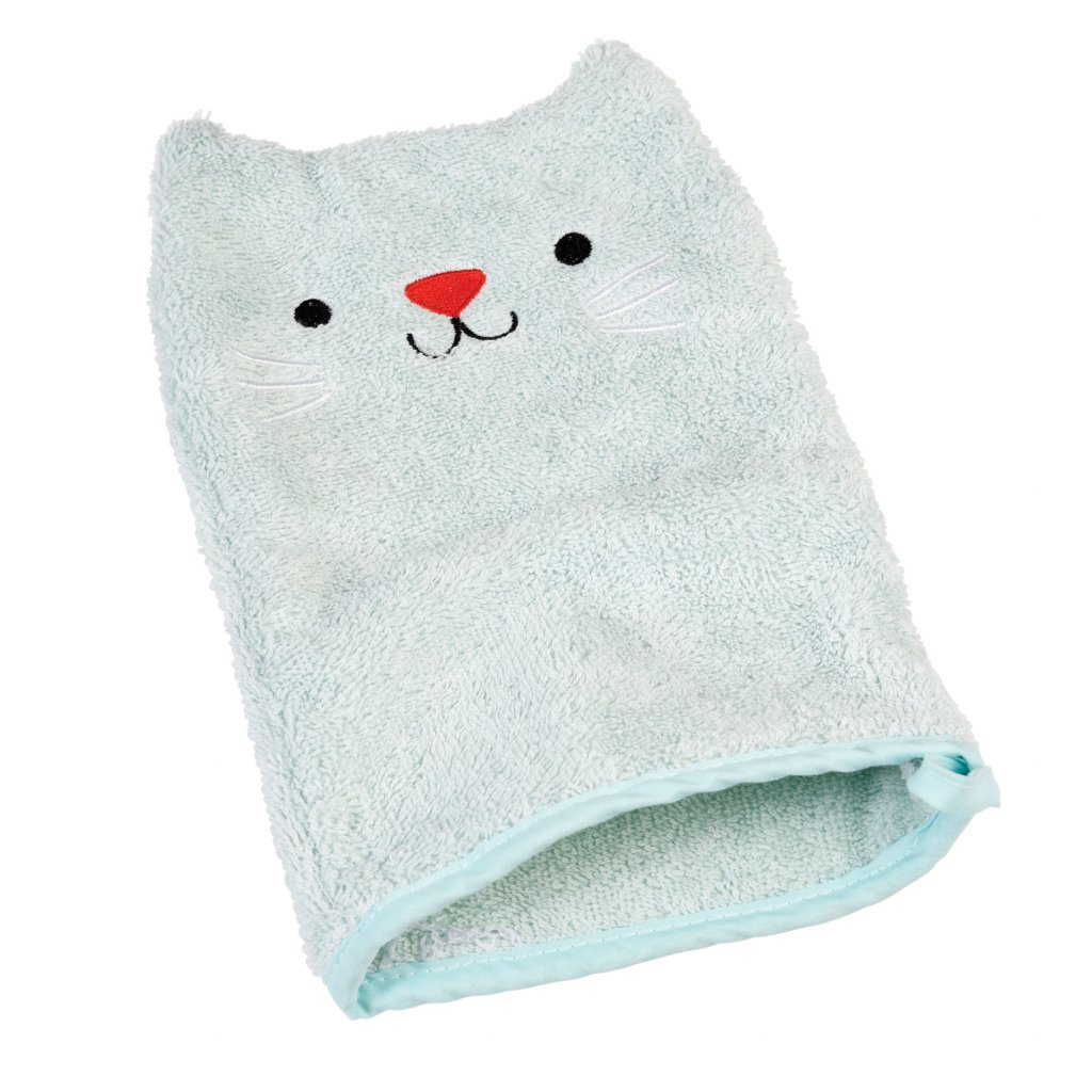 5606 modra bavlnena koupaci rukavice s motivem kocicky cookie the cat