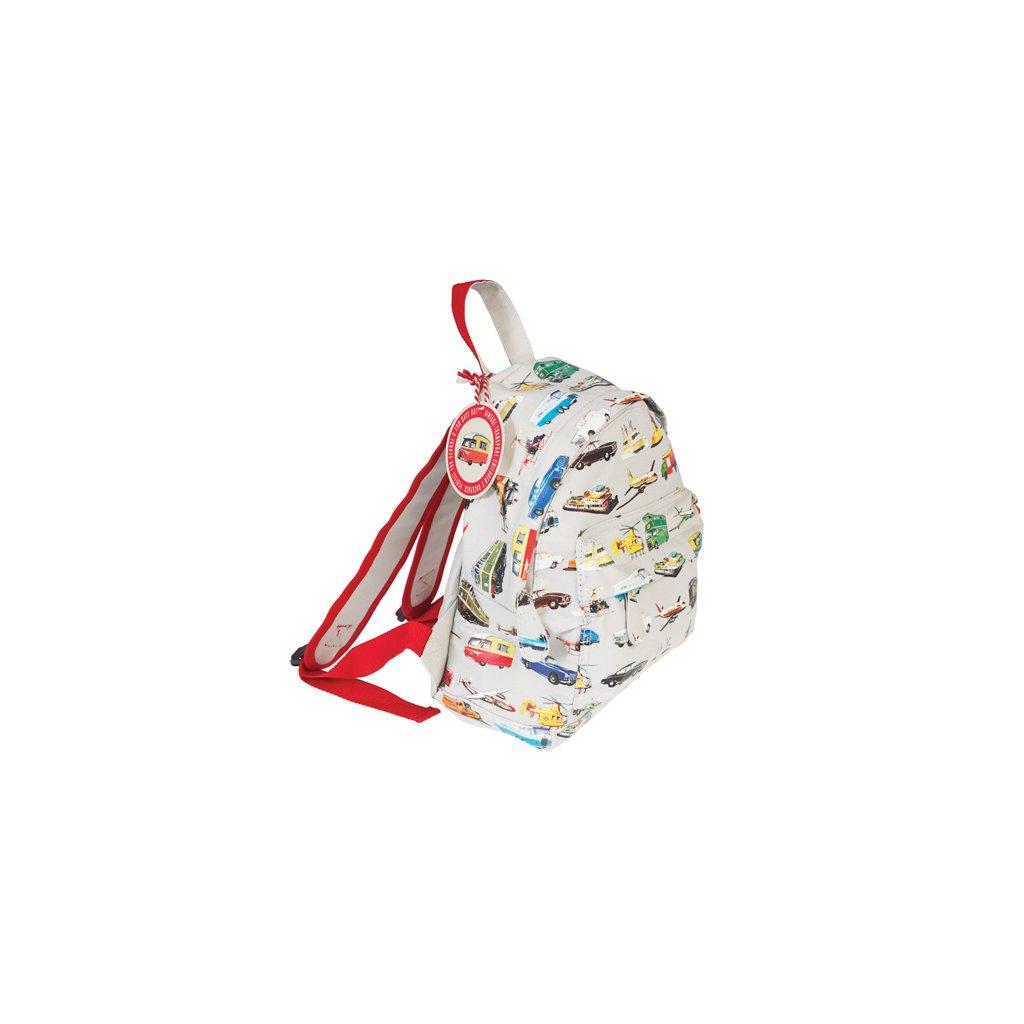 Světle šedý dětský batoh s motivy dopravních prostředků Vintage Transport