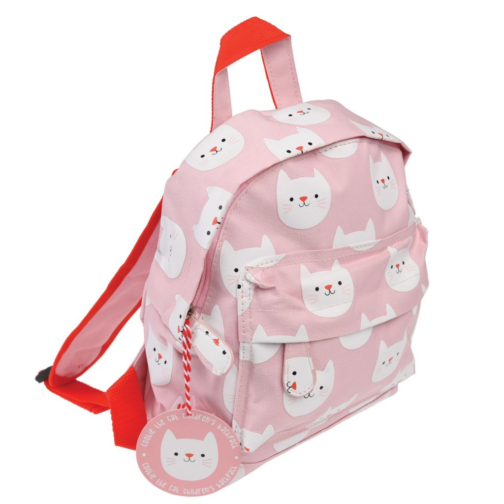 Růžový dětský batoh s motivy kočiček Cookie The Cat
