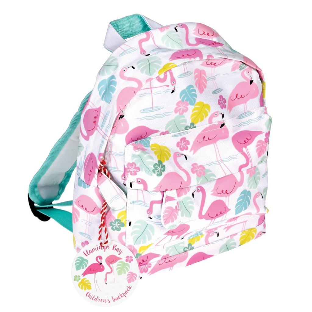 Bílý dětský batoh s motivy plameňáků Flamingo Bay