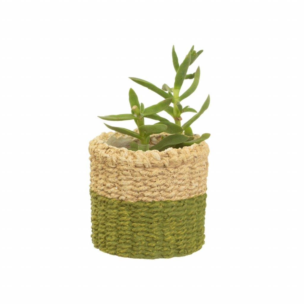 CHU005 B Mini Green Dip Cement Basket Planter Lifestyle