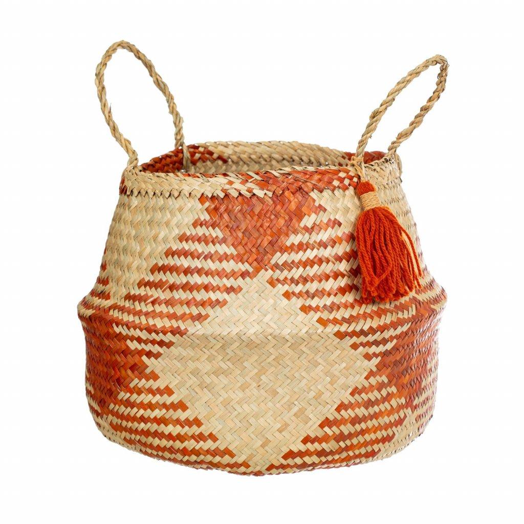 BASK039 A Terracotta Check Basket