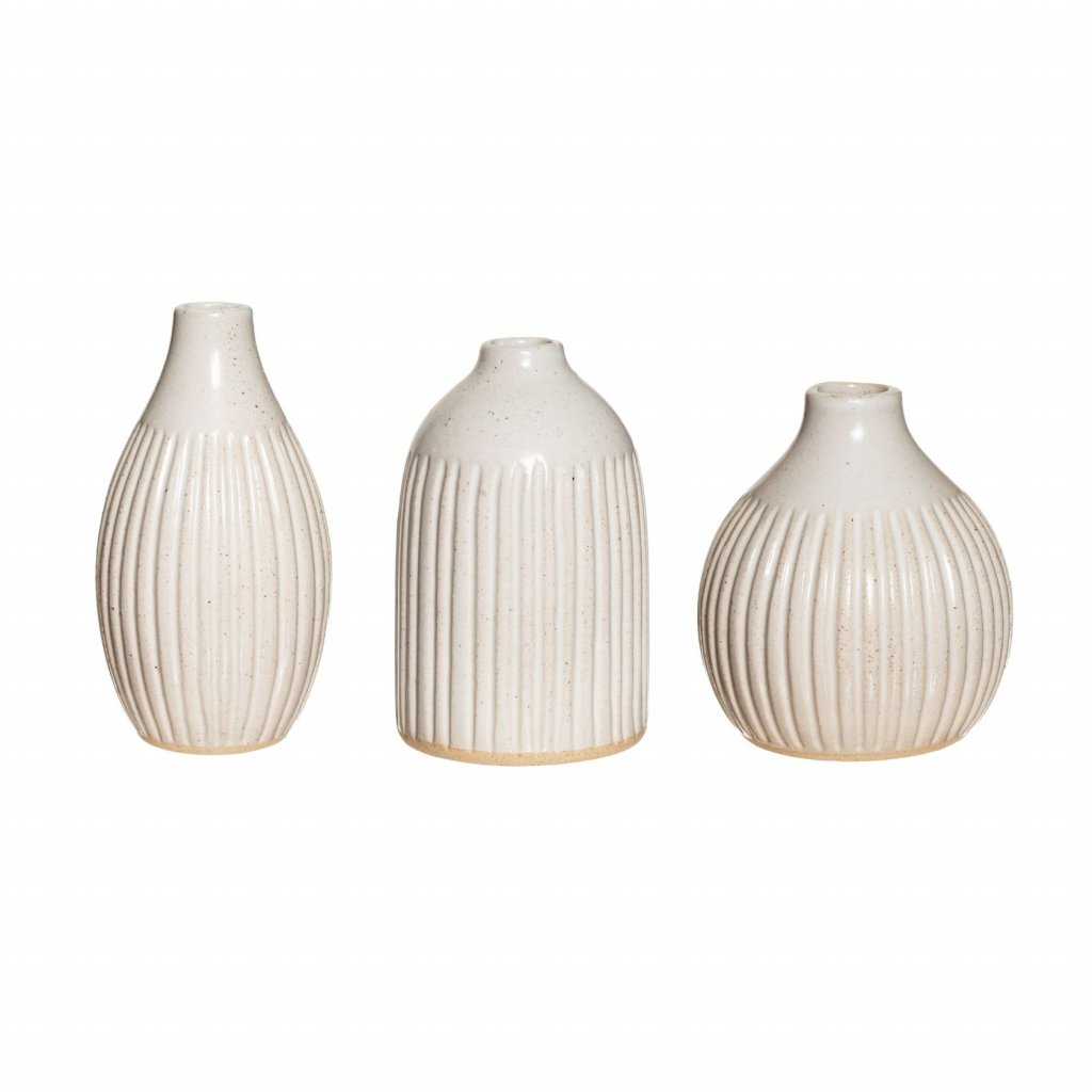 XC422 A Grooved Bud Vases Set 3