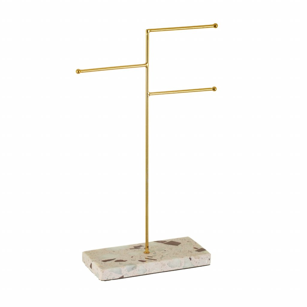 WIR313 A Triple Terrazzo Gold Jewellery Stand